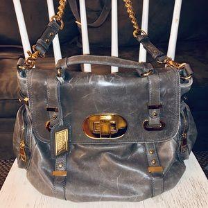 Badgley Mischka Distressed Leather Crossbody Bag